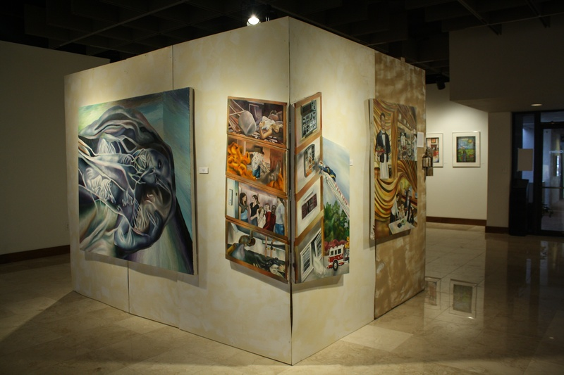 Installation with paintings
